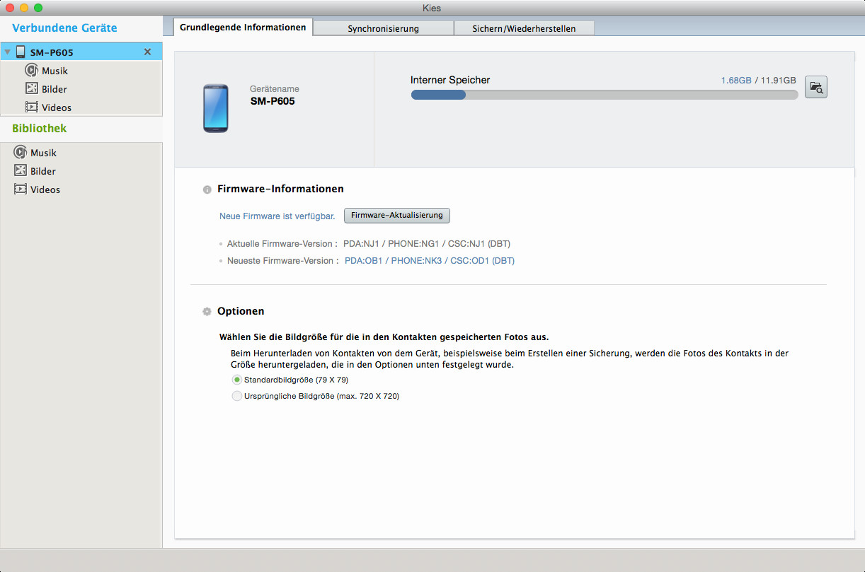 Screenshot 1 - Samsung Kies 3 (Mac)