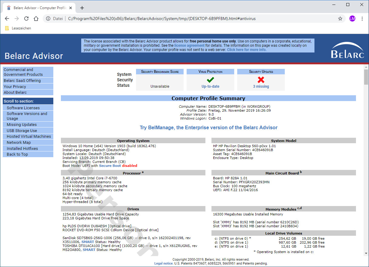 Screenshot 1 - Belarc Advisor