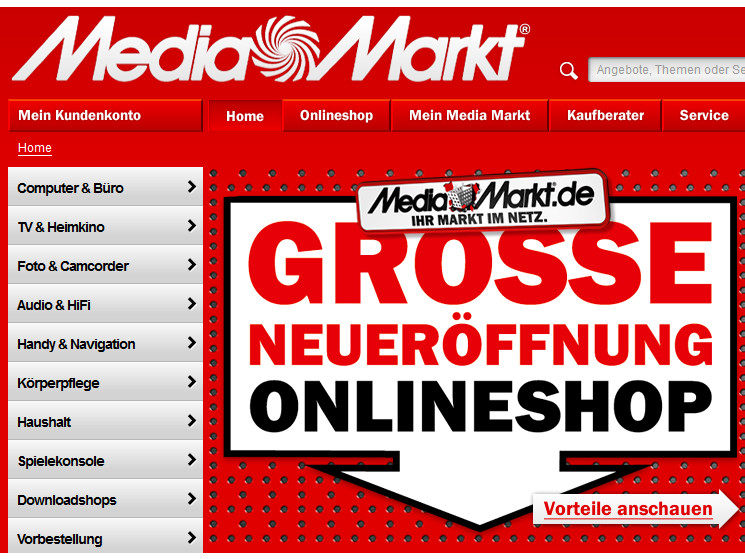 media markt neuer online shop ist da computer bild. Black Bedroom Furniture Sets. Home Design Ideas