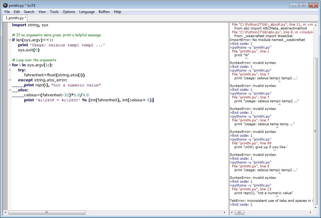 Screenshot 1 - SciTe