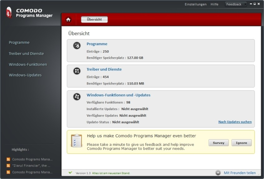 Screenshot 1 - Comodo Programs Manager