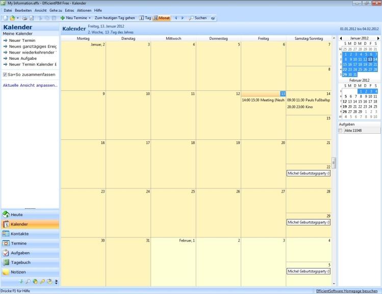 Screenshot 1 - EfficientPIM Free Portable