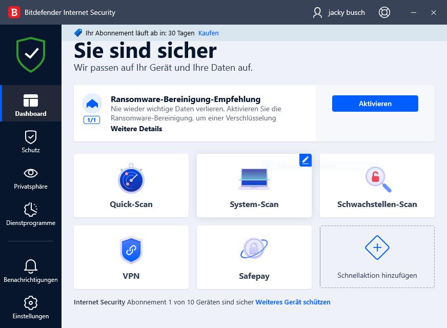Screenshot 1 - Bitdefender Internet Security 2022