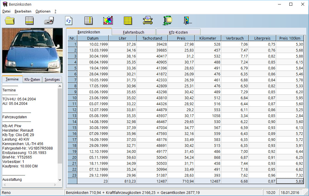 Screenshot 1 - Benzinkosten