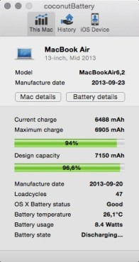Screenshot 1 - Coconut Battery (Mac)