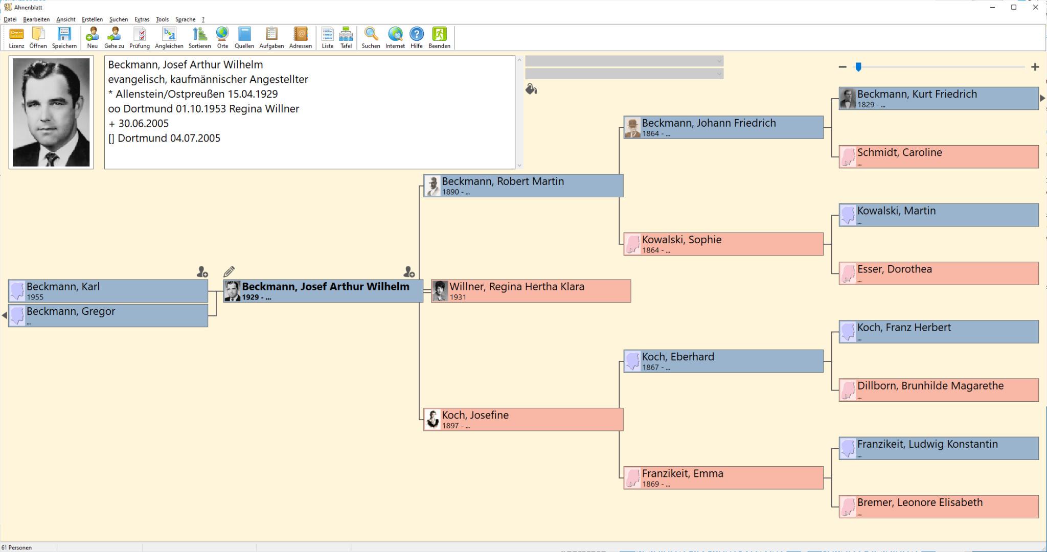 Screenshot 1 - Ahnenblatt (letzte Freeware)