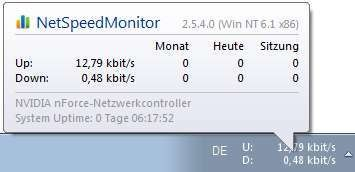 Screenshot 1 - NetSpeedMonitor (32 Bit)