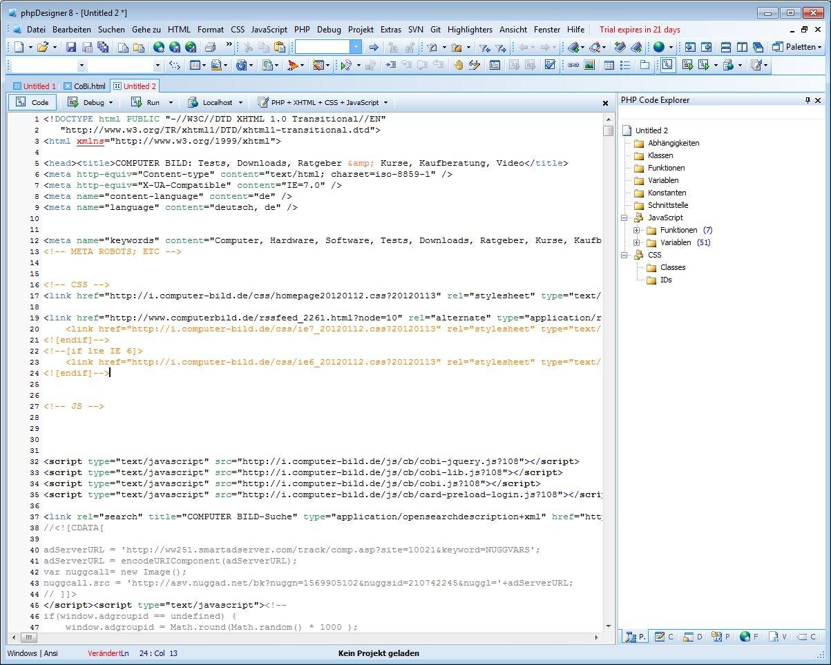 Screenshot 1 - phpDesigner