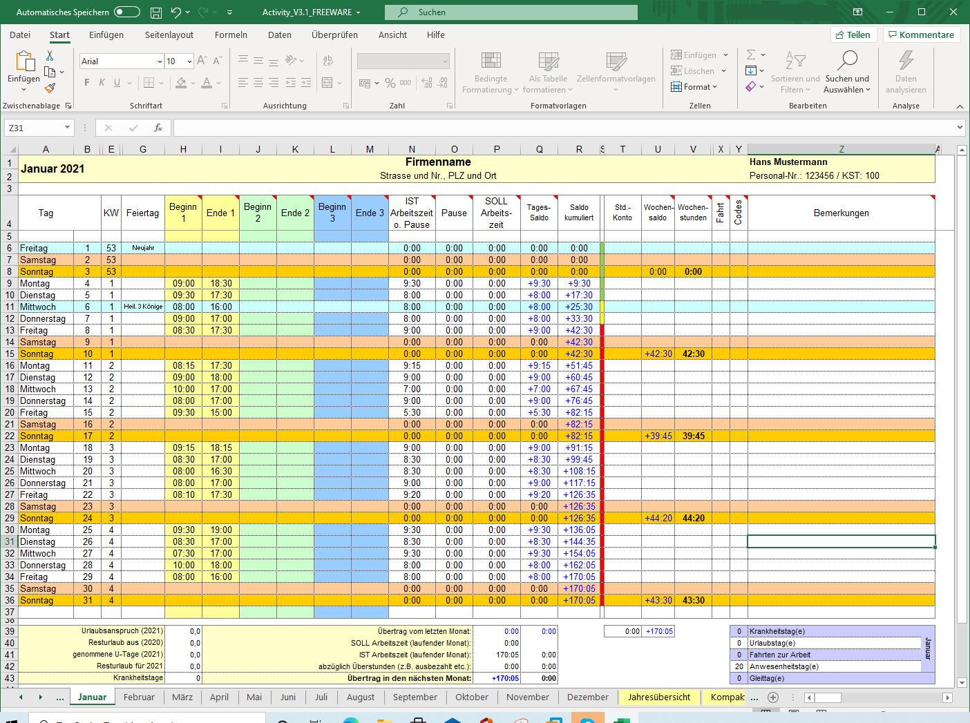 Screenshot 1 - Activity-Report