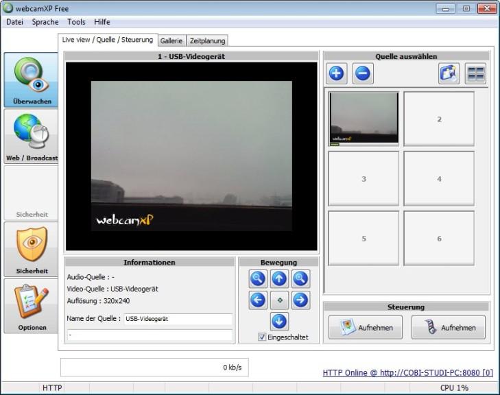 Screenshot 1 - webcamXP