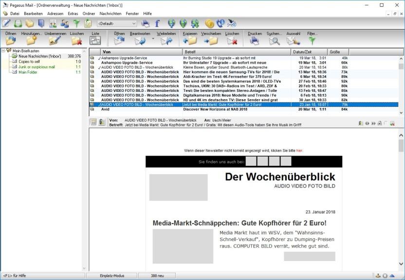 Screenshot 1 - Pegasus Mail