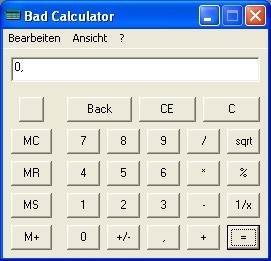 Screenshot 1 - Bad Calculator