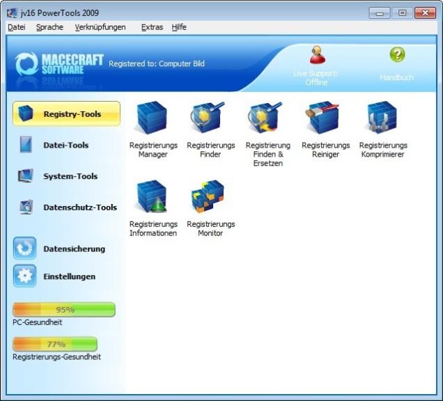 Screenshot 1 - jv16 PowerTools 2009 – Kostenlose Vollversion