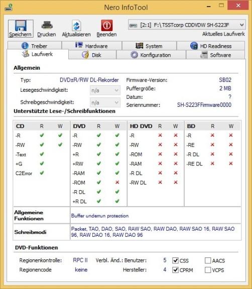 Screenshot 1 - Nero InfoTool