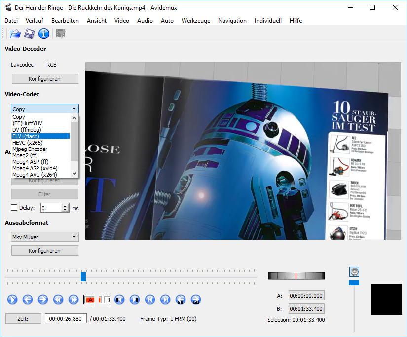 Screenshot 1 - Avidemux (32 Bit)