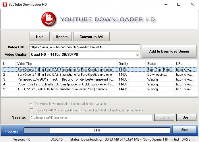 Screenshot 1 - YouTube Downloader HD Portable