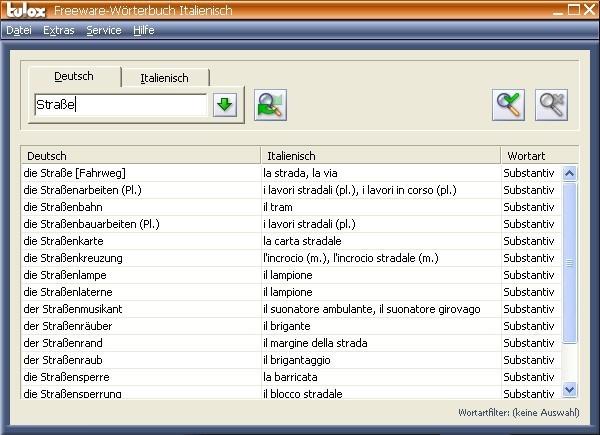 Screenshot 1 - Tulox Freeware-Wörterbuch (Italienisch)