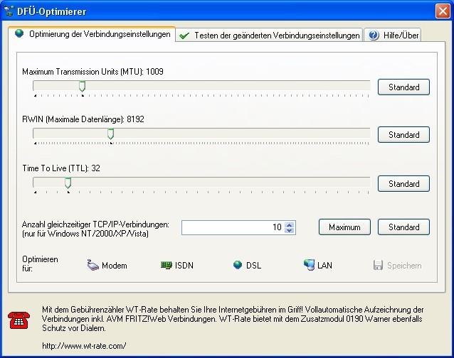 Screenshot 1 - DFÜ-Optimierer