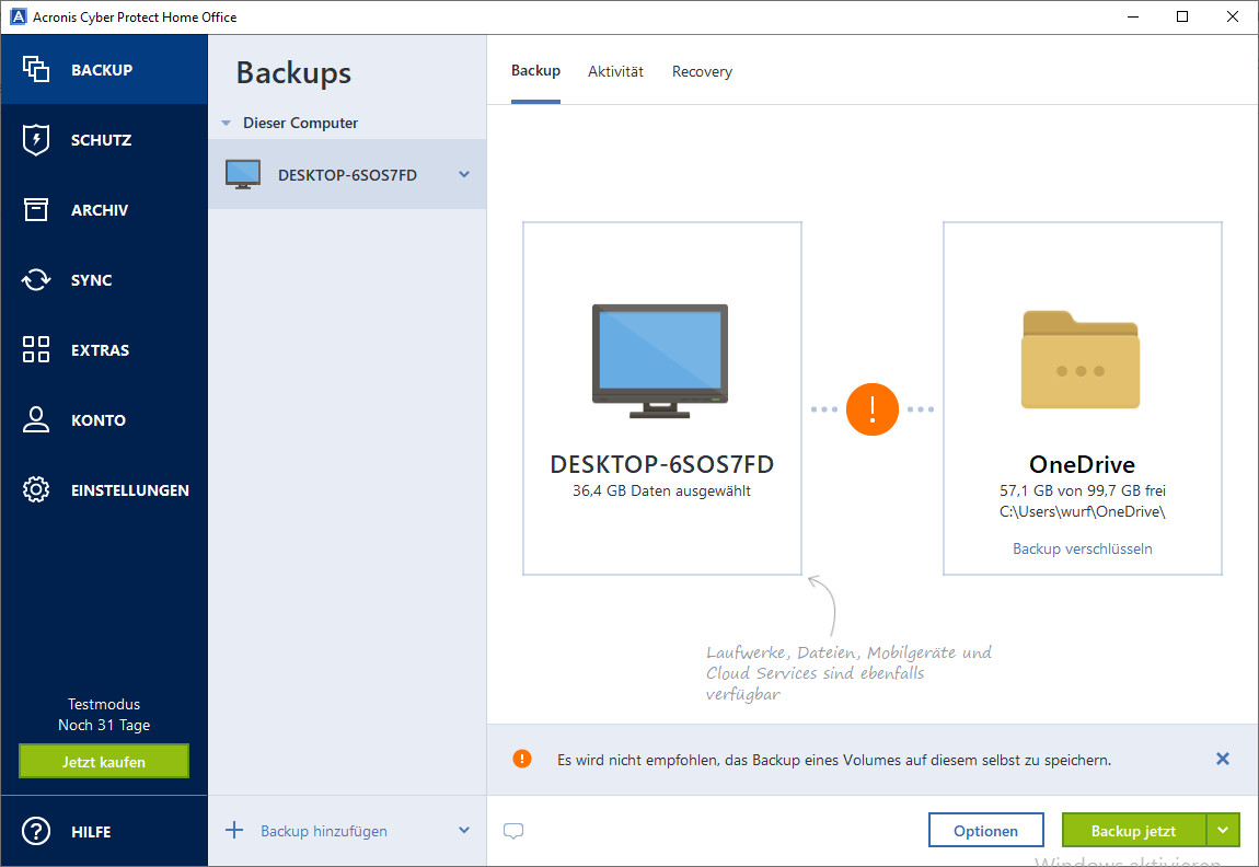 Screenshot 1 - Acronis Cyber Protect Home Office (ehemals Acronis True Image)