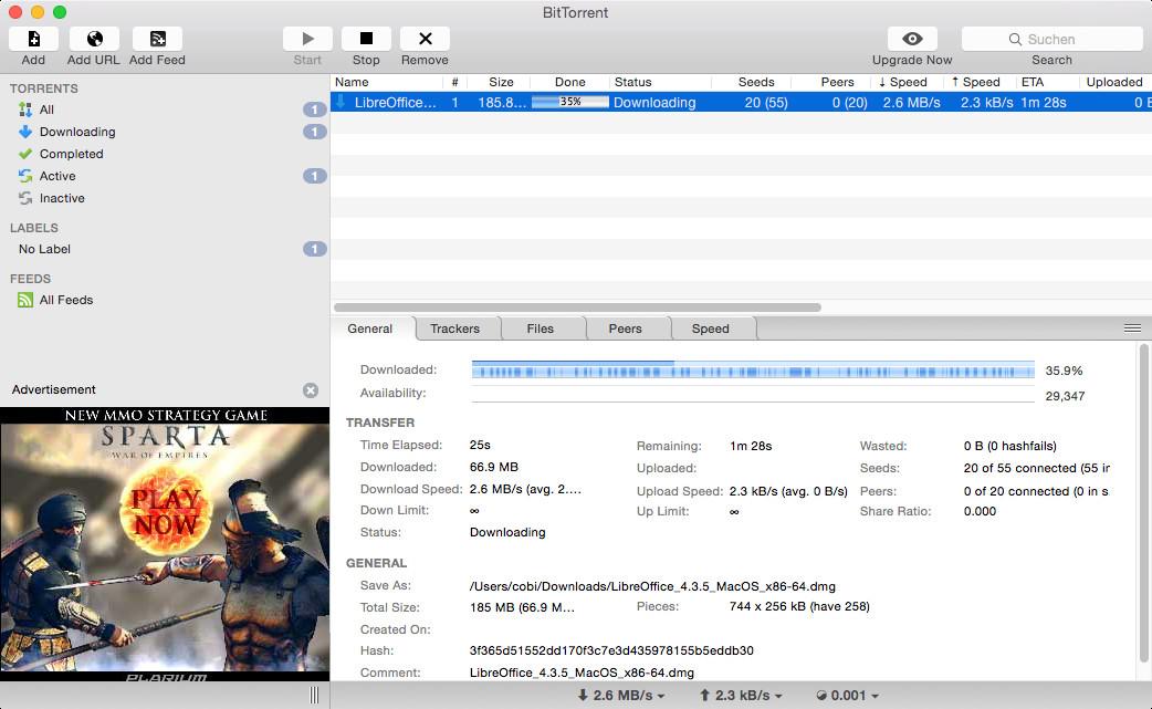 Screenshot 1 - BitTorrent (Mac)