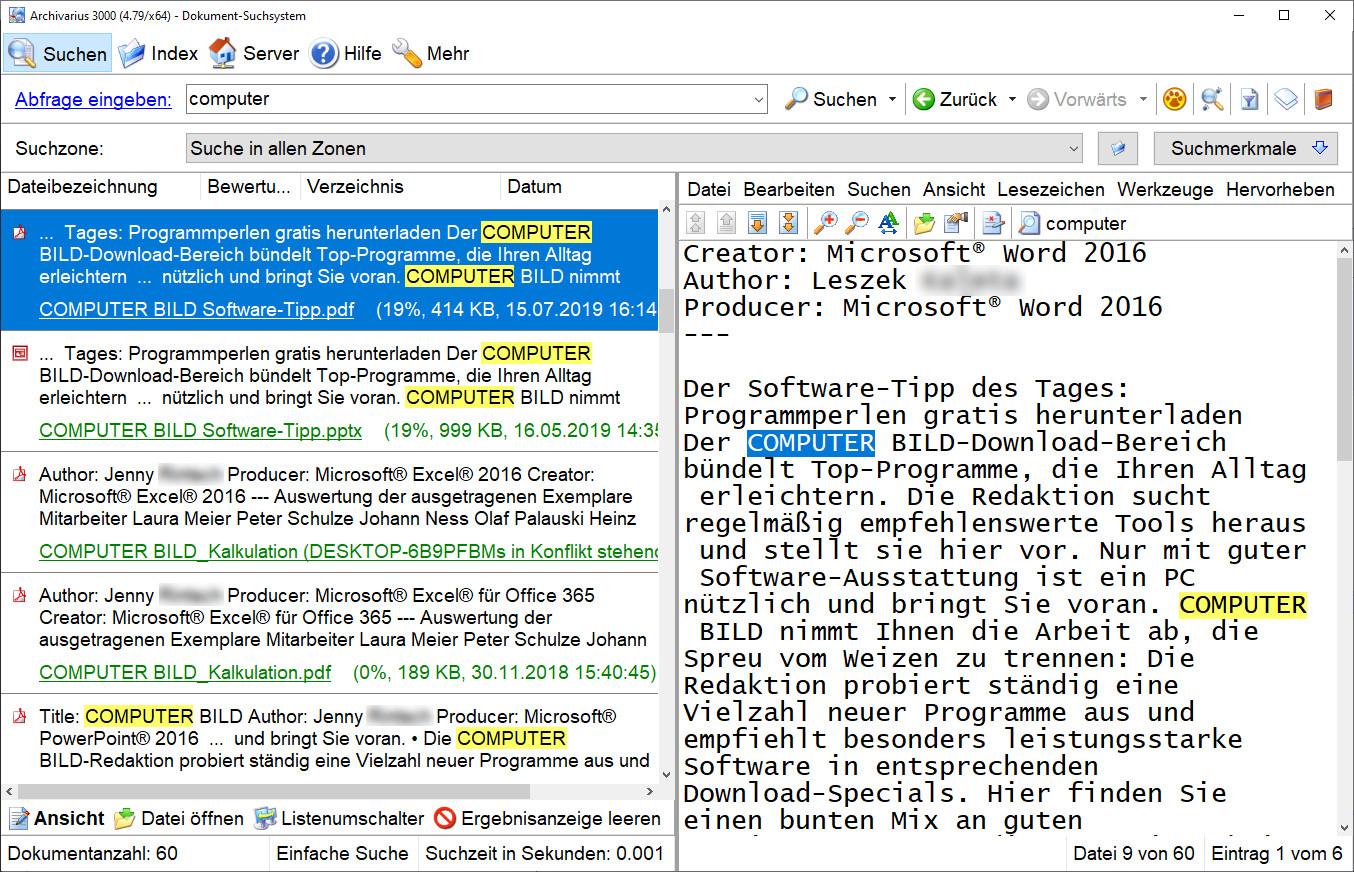 Screenshot 1 - Archivarius 3000
