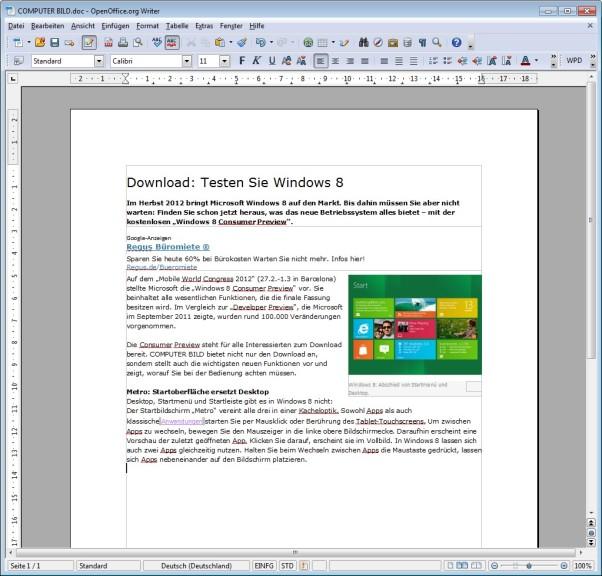 Screenshot 1 - OxygenOffice Professional