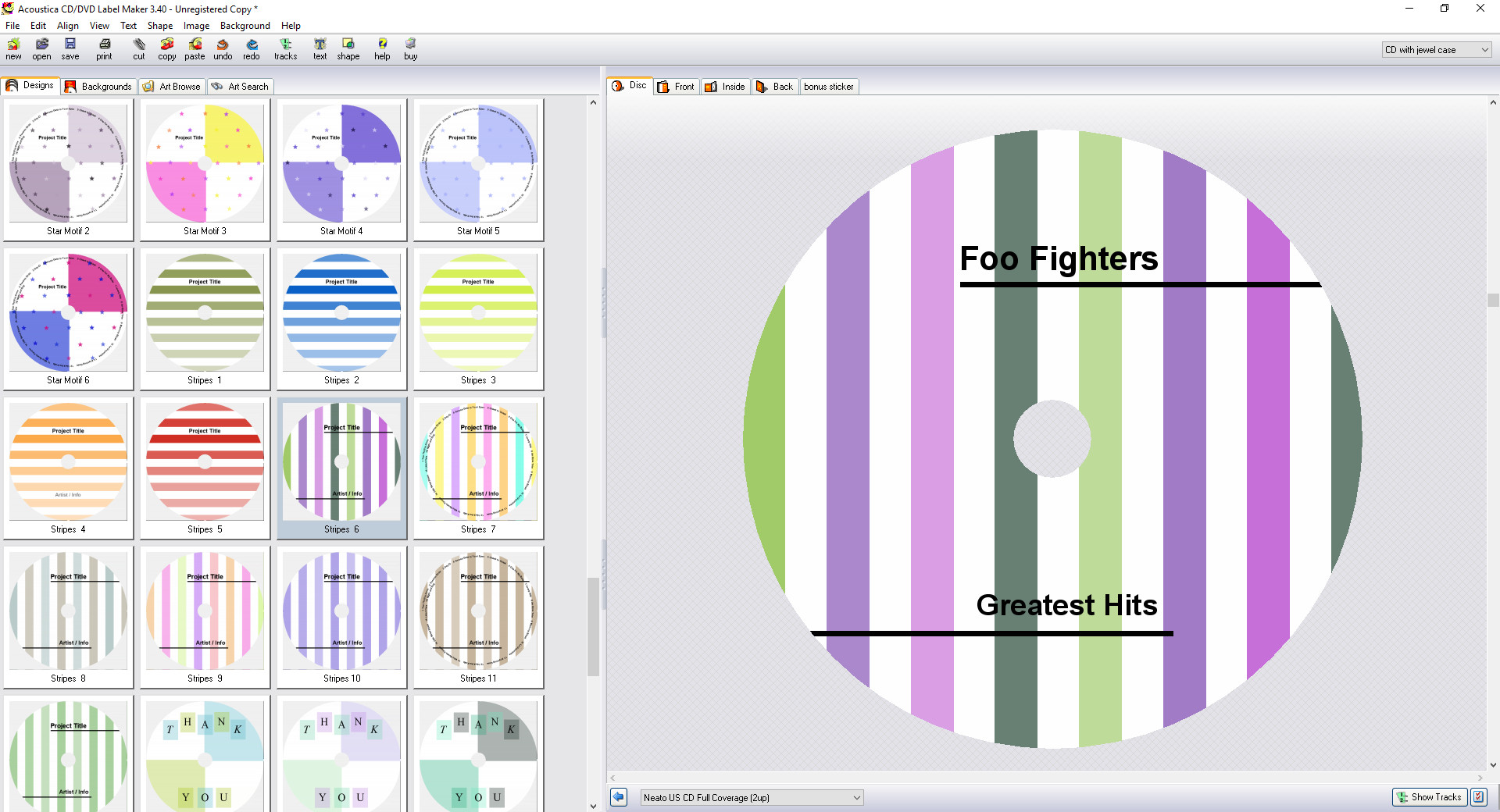 Screenshot 1 - Acoustica CD/DVD Label Maker