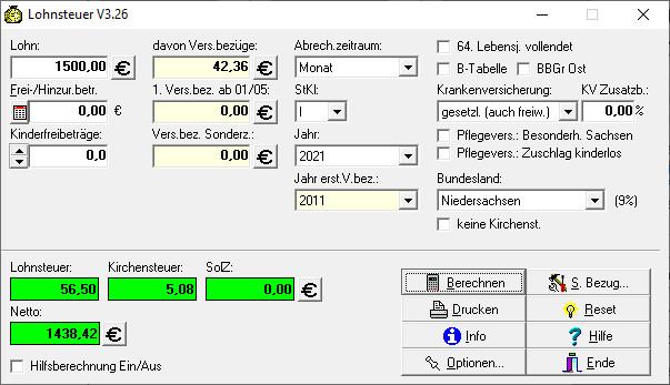 Screenshot 1 - Lohnsteuer für Windows