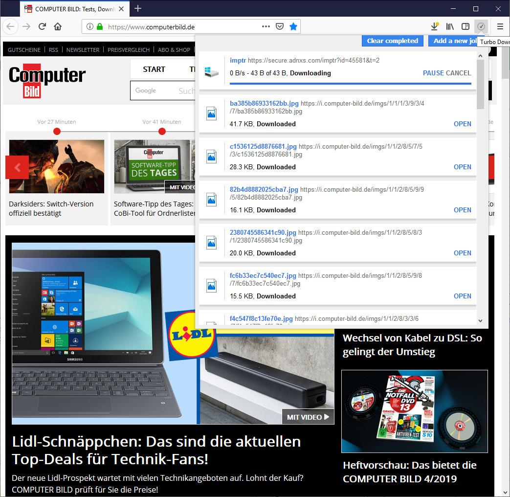 Screenshot 1 - Turbo Download Manager für Firefox