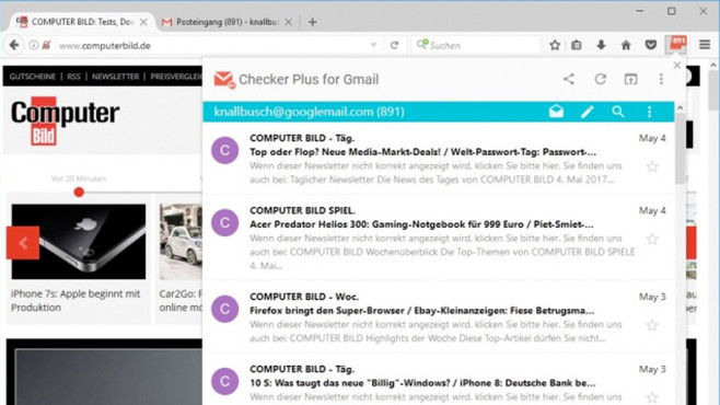 Checker Plus for Gmail © COMPUTER BILD