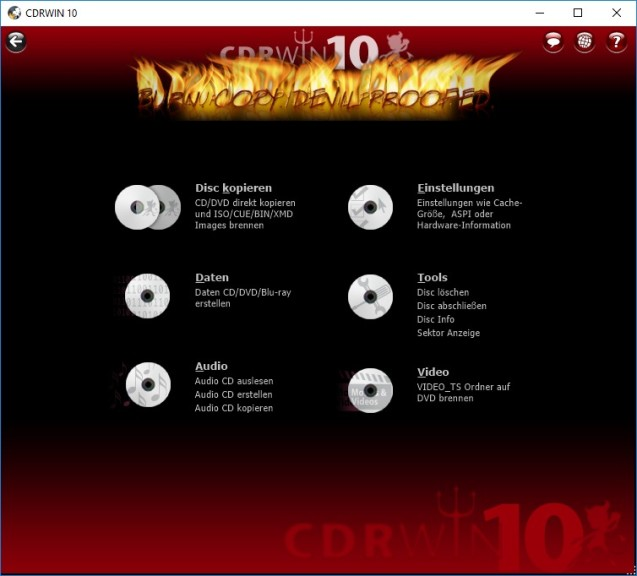 Screenshot 1 - CDRWIN 10 – Kostenlose Vollversion