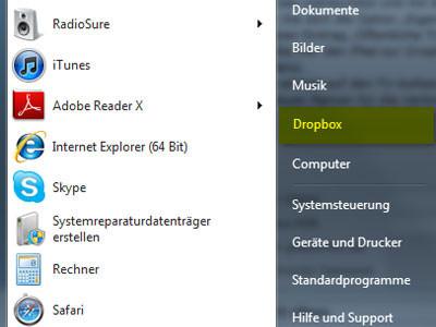 Screenshot Dropbox im Startmenü ©COMPUTER BILD