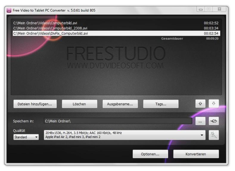 Screenshot 1 - Free Video to Tablet PC Converter