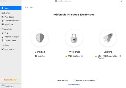Screenshot 1 - Avira Free Mac Security (Mac)