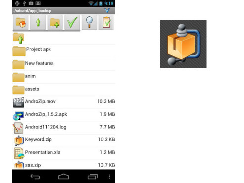 AndroZip Dateimanager ©AgileSoft Resource