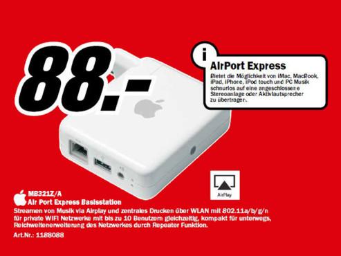 Apple AirPort Express Basisstation (MB321) ©Media Markt