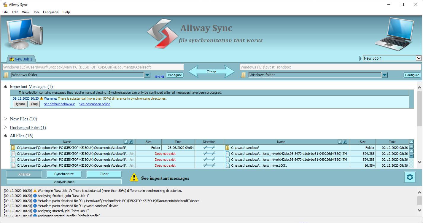 Screenshot 1 - Allway Sync 'n' Go
