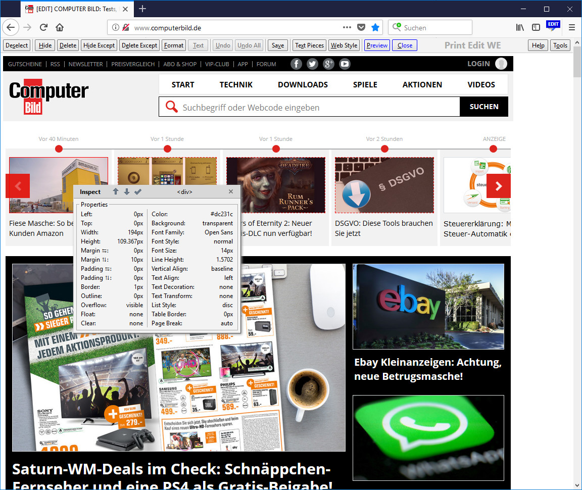 Screenshot 1 - Print Edit WE für Firefox