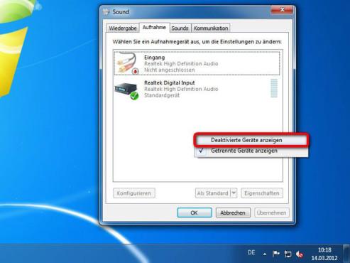 Lassen Sie die deaktivierten Geräte anzeigen ©Microsoft