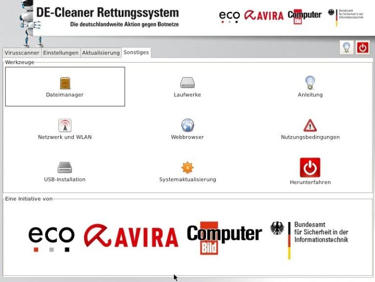 Screenshot 1 - DE-Cleaner Rettungssystem-DVD (AntiBot-DVD)