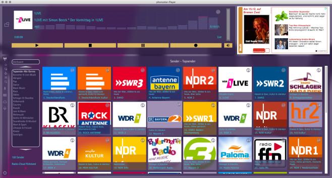 Screenshot 1 - Phonostar Player (Mac)