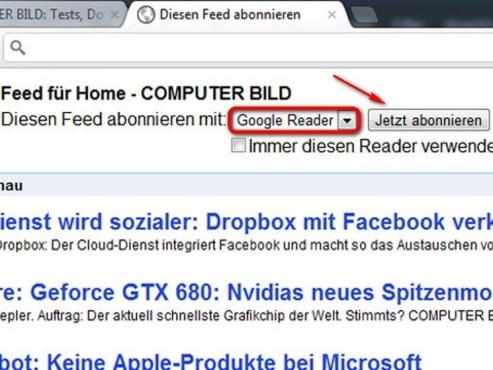 Abonnieren Sie den Feed mit dem Google Reader ©Google
