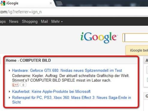 Der RSS-Feed wurde nun zu iGoogle hinzugefügt ©Google