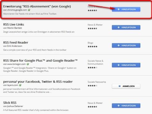 Klicken Sie für RSS-Abonnent auf hinzufügen ©Google