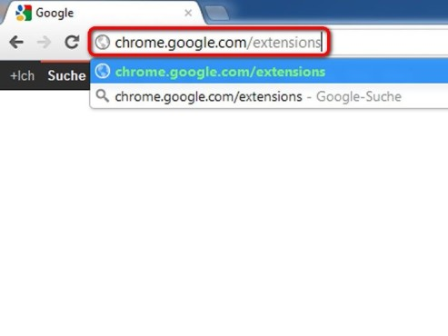 Laden Sie chrome.google.com/extensions © Google