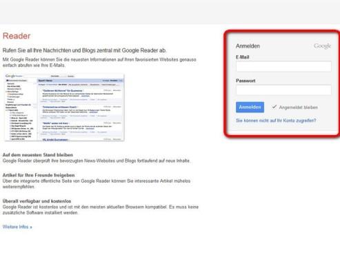 Melden Sie sich mit Ihren Zugangsdaten an ©Google
