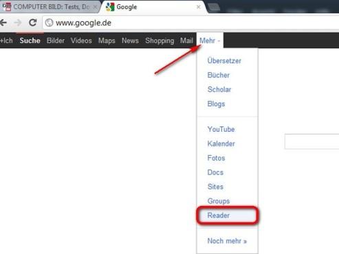 Öffnen Sie den Reader in Zukunft über die Google Startseite ©Google