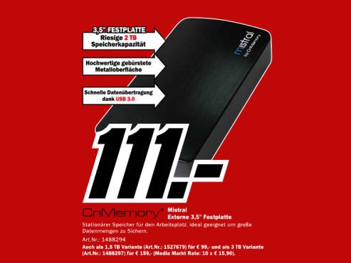 CnMemory 3.5 Mistral USB 3.0 2TB ©Media Markt