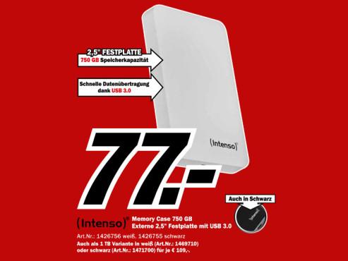 Intenso Memory Case 750GB weiß ©Media Markt