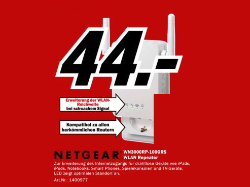 Netgear Universelle WiFi-Reichweiten-Verlängerung (WN3000RP) ©Media Markt